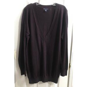 Gap Cashmere Sweater V-neckline deep purple L